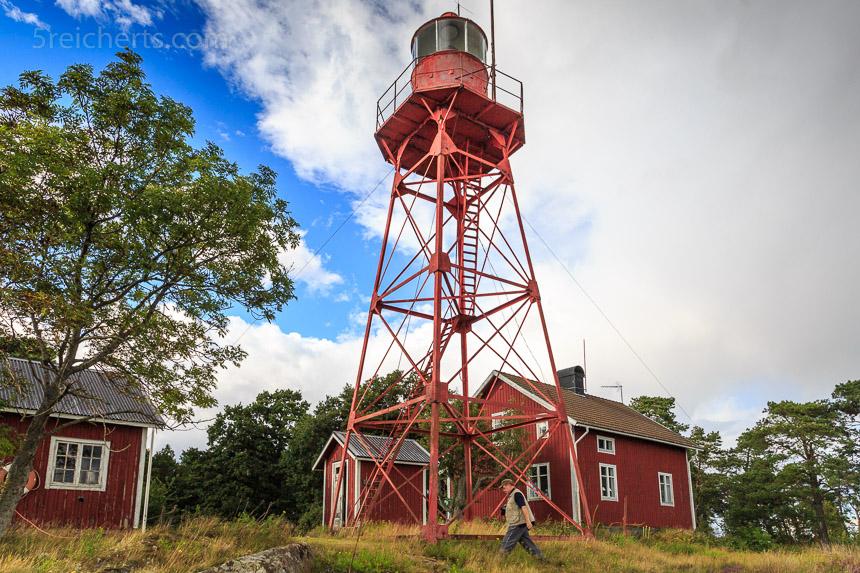 rote und drahtig, der Gäller Udde Leuchtturm