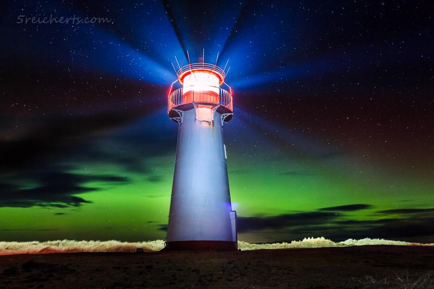 Nordlicht am Leuchtturm List West, Sylt