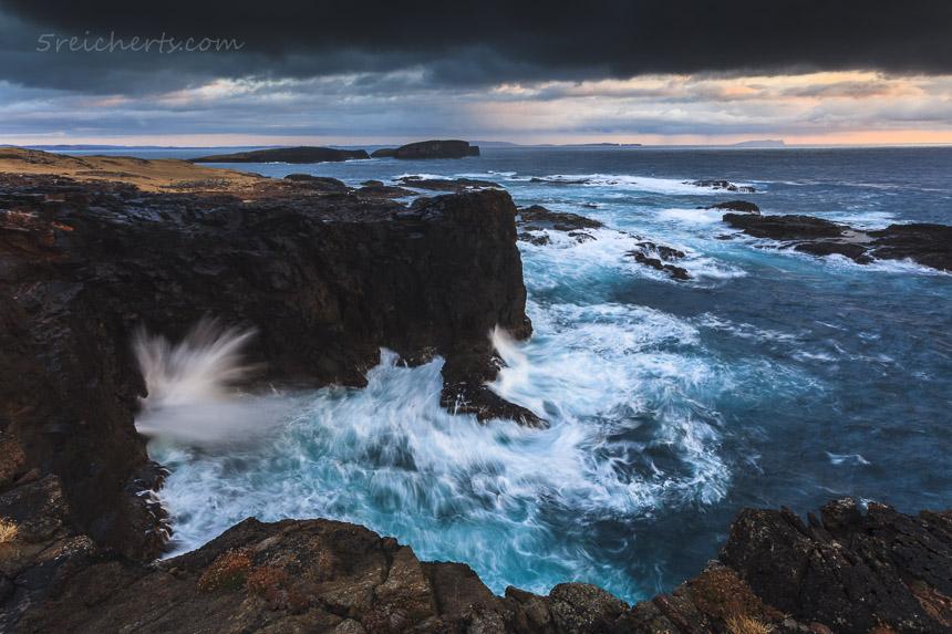 Shetland, Blowhole bei Regenwetter