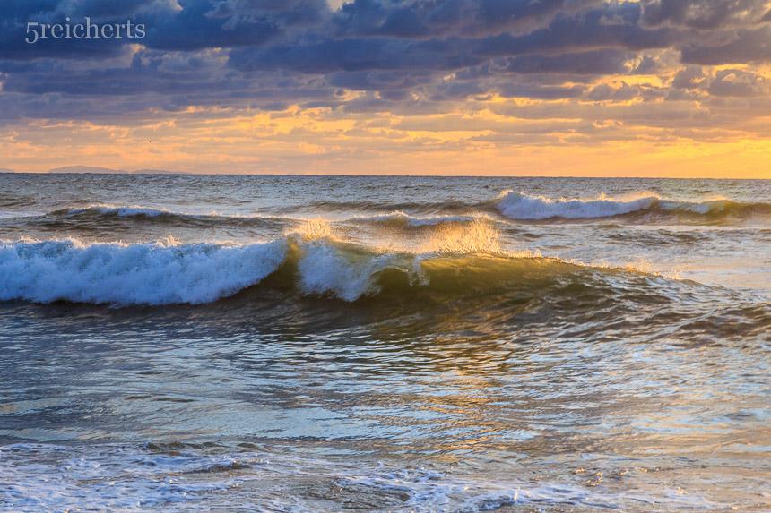 Welle im Sonnenuntergang, Biarritz