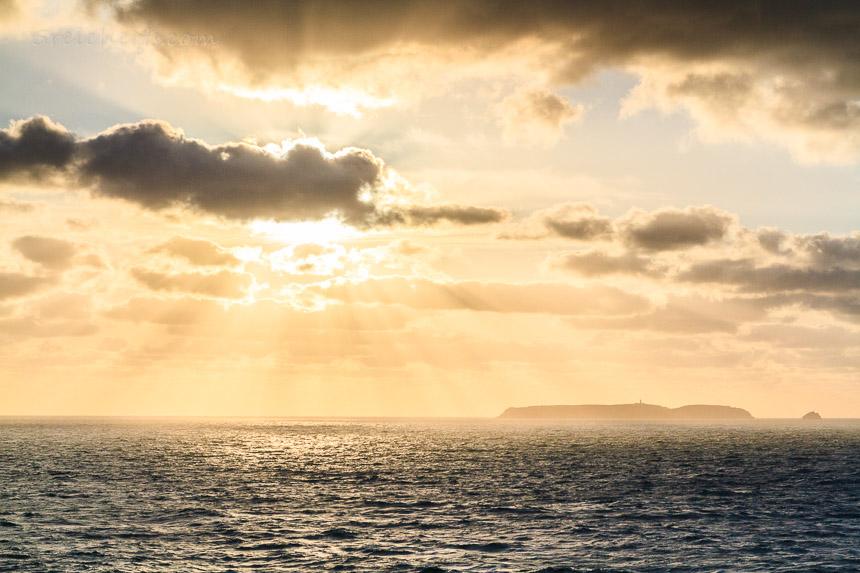 Sonnenuntergang, Blick zur Insel