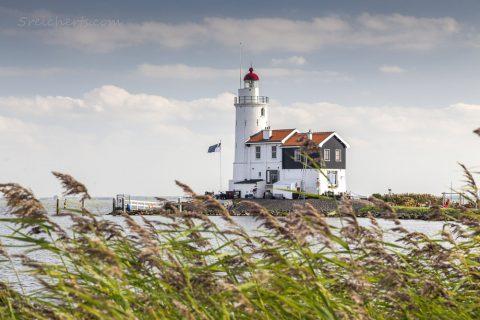 Der Leuchtturm von Marken und Schilfgras, Niederlande