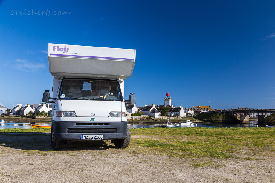 Unser Wohnmobil auf dem Stellplatz in Guilvinec, Penmarch, Bretagne