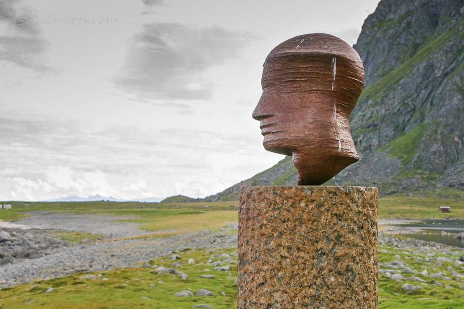 Eggum, Kopf Skulptur, Norwegen