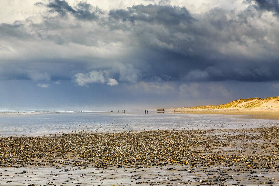Blick über den weiten Strand, Plage de la Torche, Bretagne