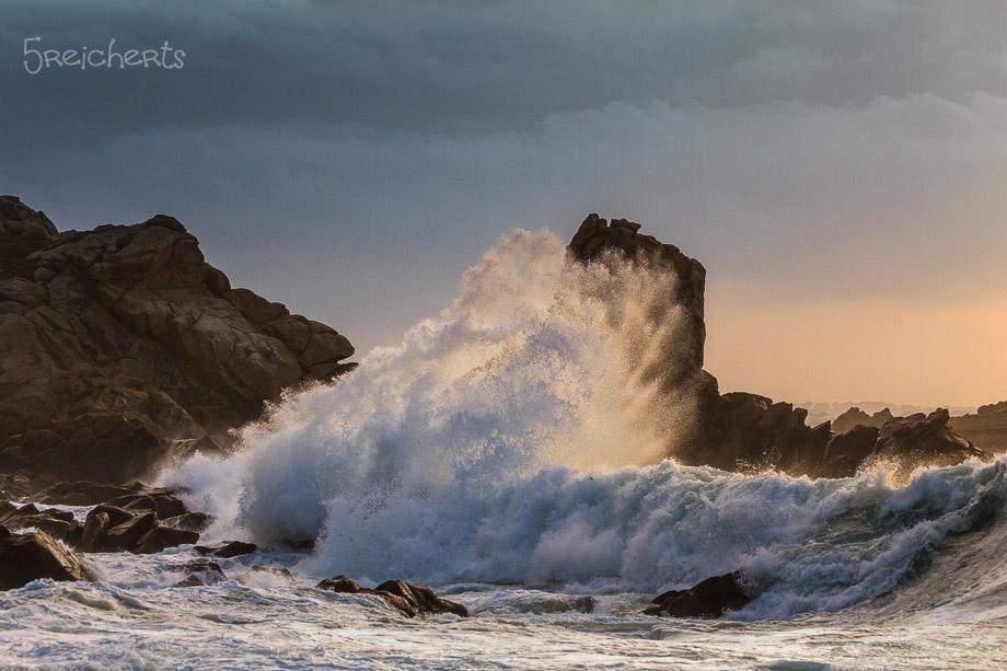 Wellen im Abendlicht in Le Diben