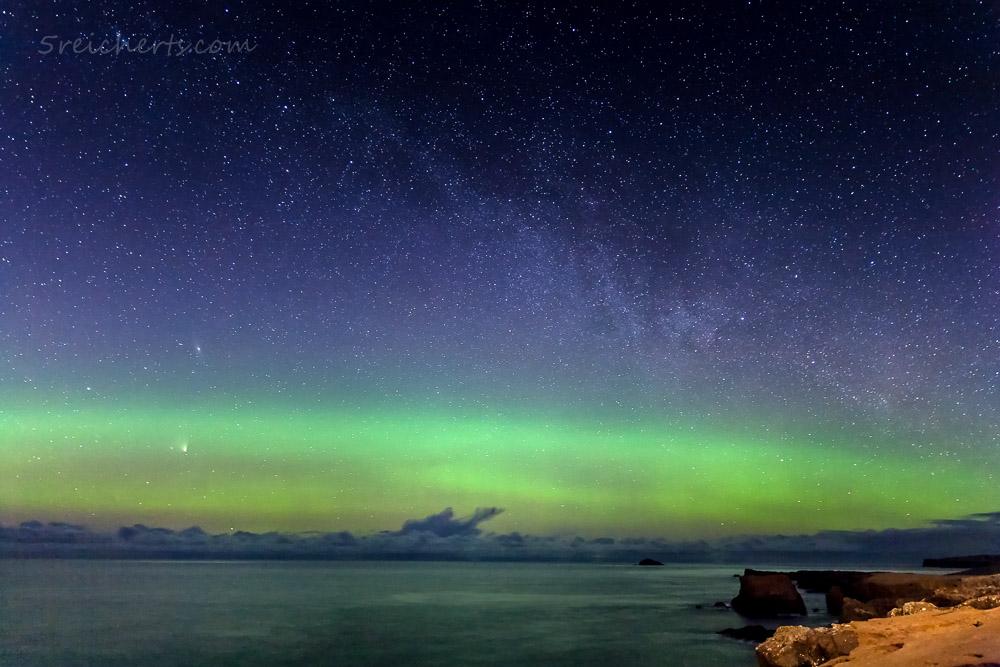 Nordlicht in Eshaness, Shetland