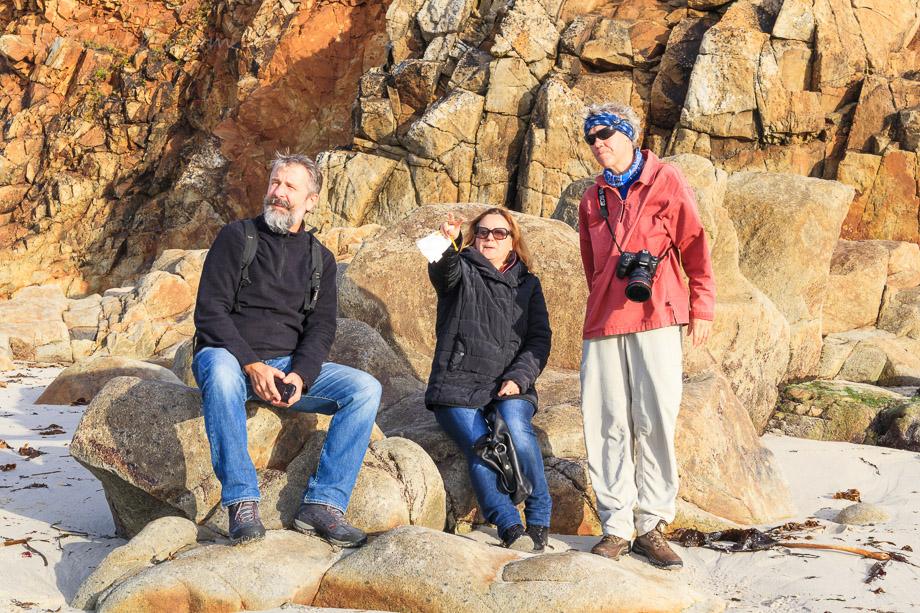 Norbert, Corinne und Gabi am Strand beim Pointe Corsen