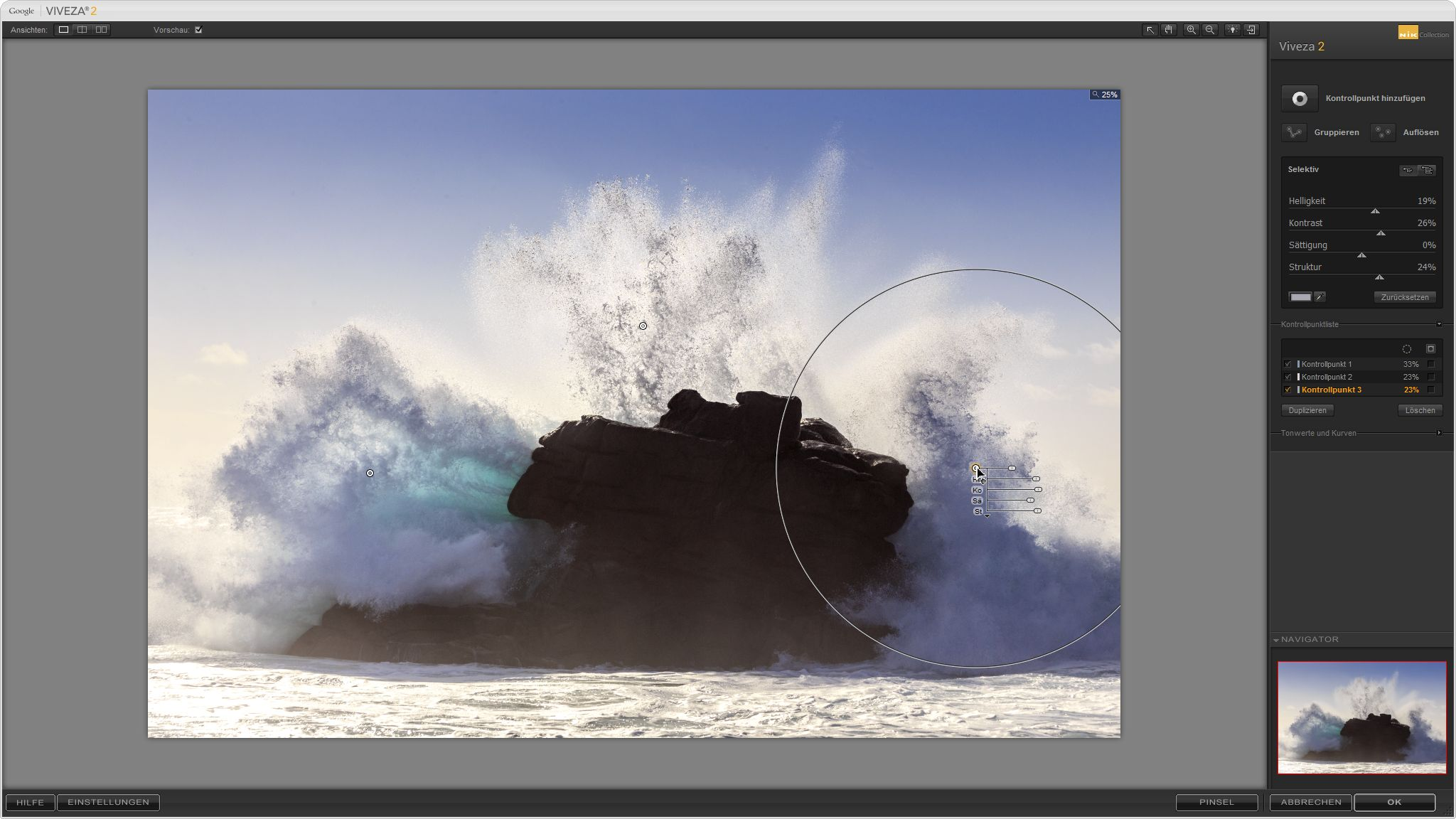 Welle auf Ouessant, mit lokaler Anpassung