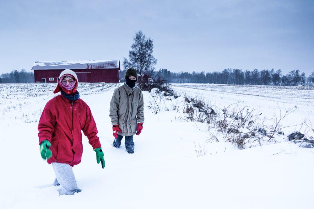 Vorrankommen im Schneegestöber, Schweden