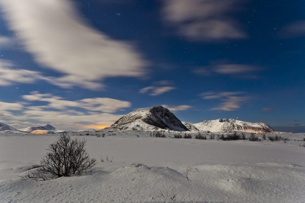 Vollmondnacht, Hov, Lofoten, Norwegen