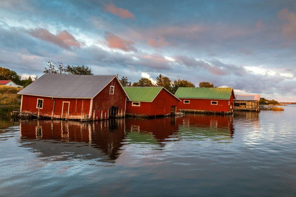 Bootshäuser in Jurmo, Åland, Finnland