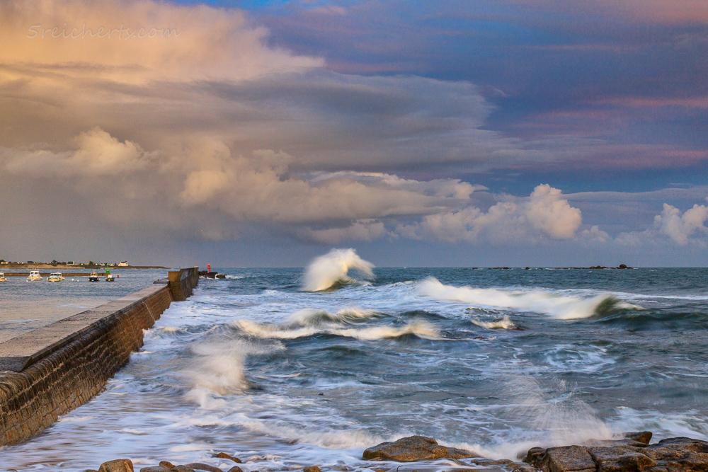 Sonnenuntergang und Flut, Lesconil, Bretagne